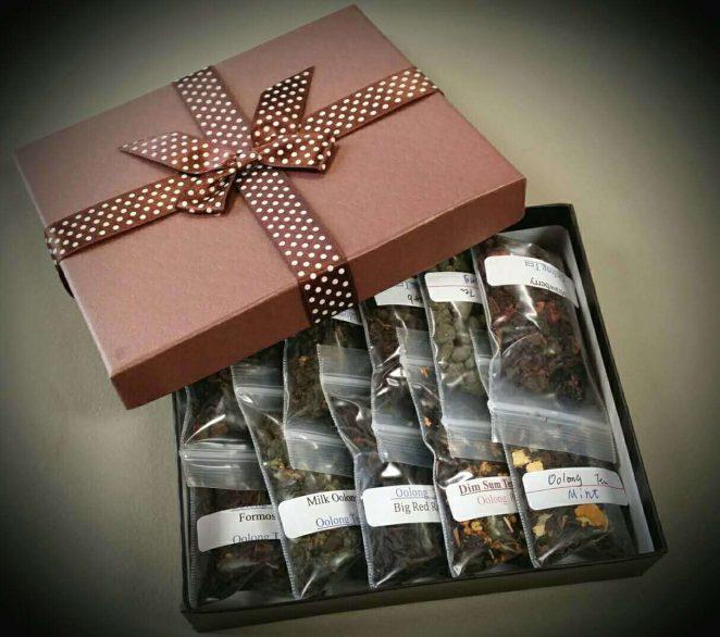 box of tea samples